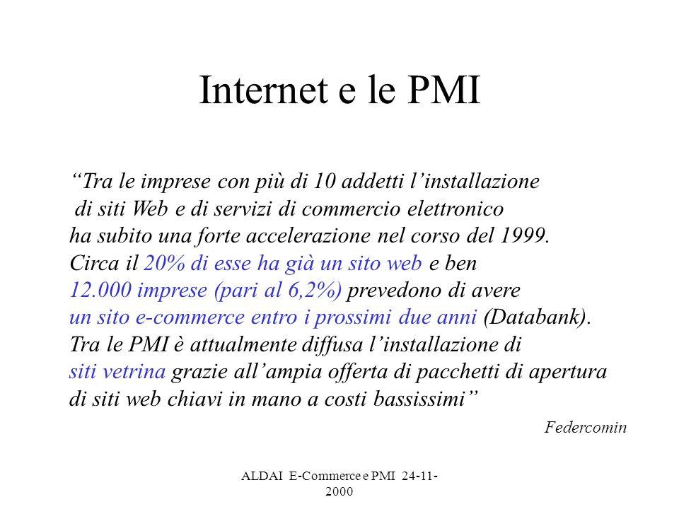 ALDAI E-Commerce e PMI 24-11- 2000 Internet e le PMI Tra le imprese con più di 10 addetti linstallazione di siti Web e di servizi di commercio elettronico ha subito una forte accelerazione nel corso del 1999.