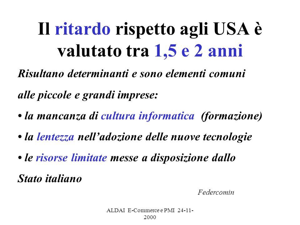 ALDAI E-Commerce e PMI 24-11- 2000 Il ritardo rispetto agli USA è valutato tra 1,5 e 2 anni Risultano determinanti e sono elementi comuni alle piccole e grandi imprese: la mancanza di cultura informatica (formazione) la lentezza nelladozione delle nuove tecnologie le risorse limitate messe a disposizione dallo Stato italiano Federcomin