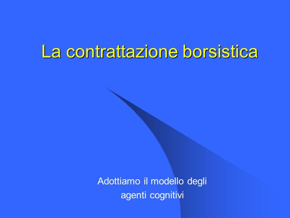 La contrattazione borsistica Adottiamo il modello degli agenti cognitivi