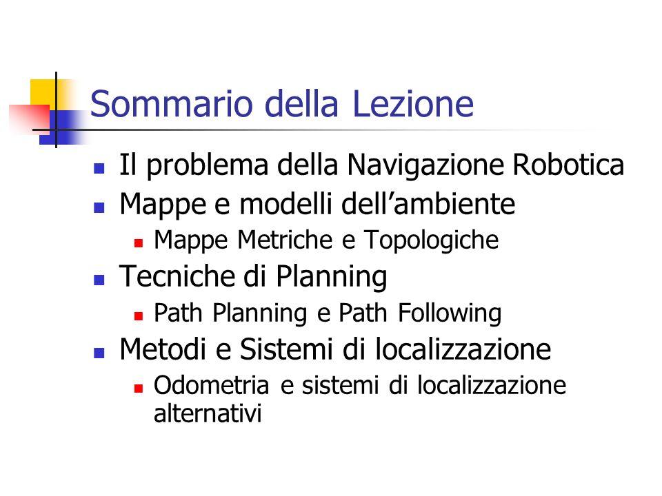 Sommario della Lezione Il problema della Navigazione Robotica Mappe e modelli dellambiente Mappe Metriche e Topologiche Tecniche di Planning Path Plan