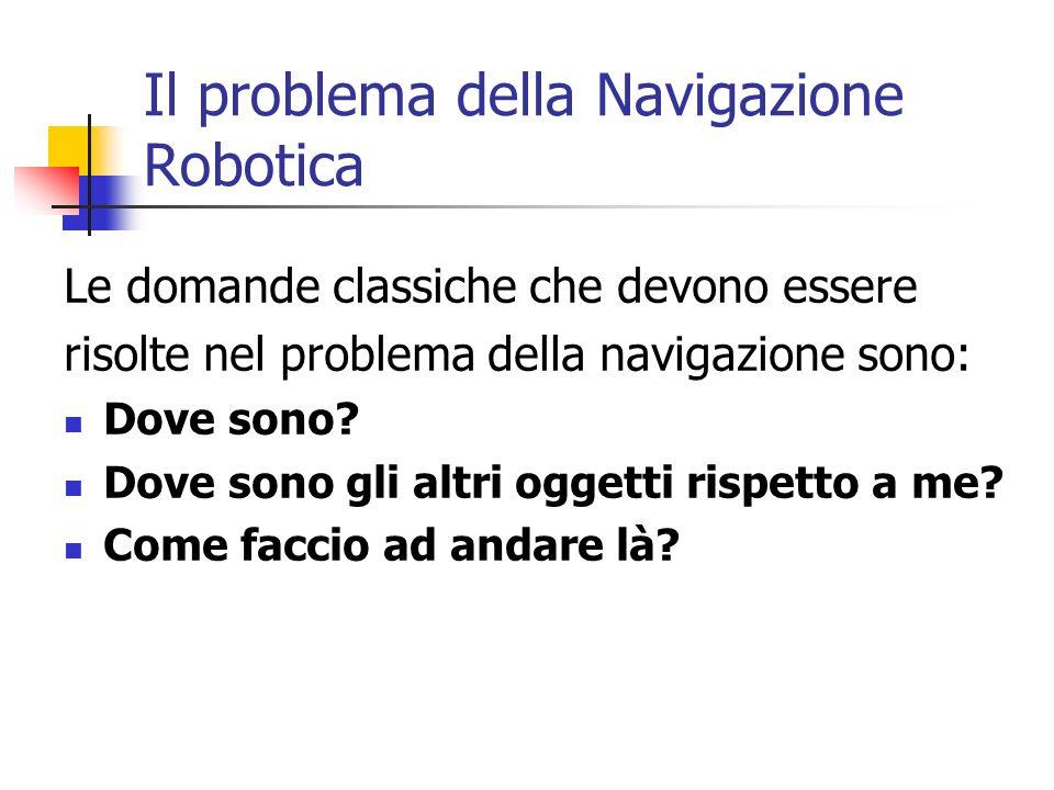 Il problema della Navigazione Robotica Le domande classiche che devono essere risolte nel problema della navigazione sono: Dove sono? Dove sono gli al
