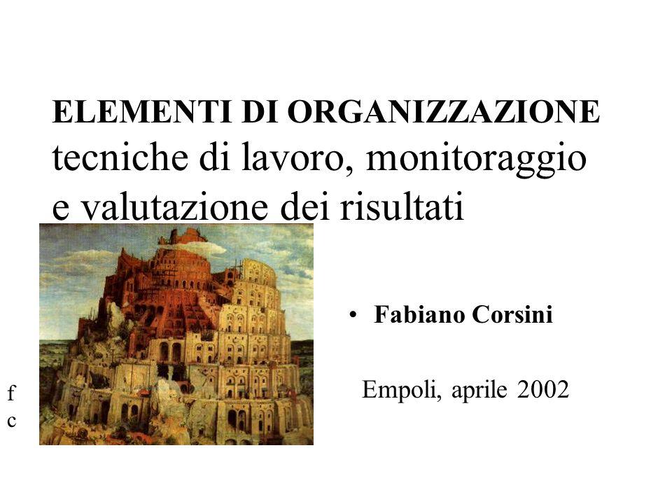 ELEMENTI DI ORGANIZZAZIONE tecniche di lavoro, monitoraggio e valutazione dei risultati Fabiano Corsini Empoli, aprile 2002 fcfc