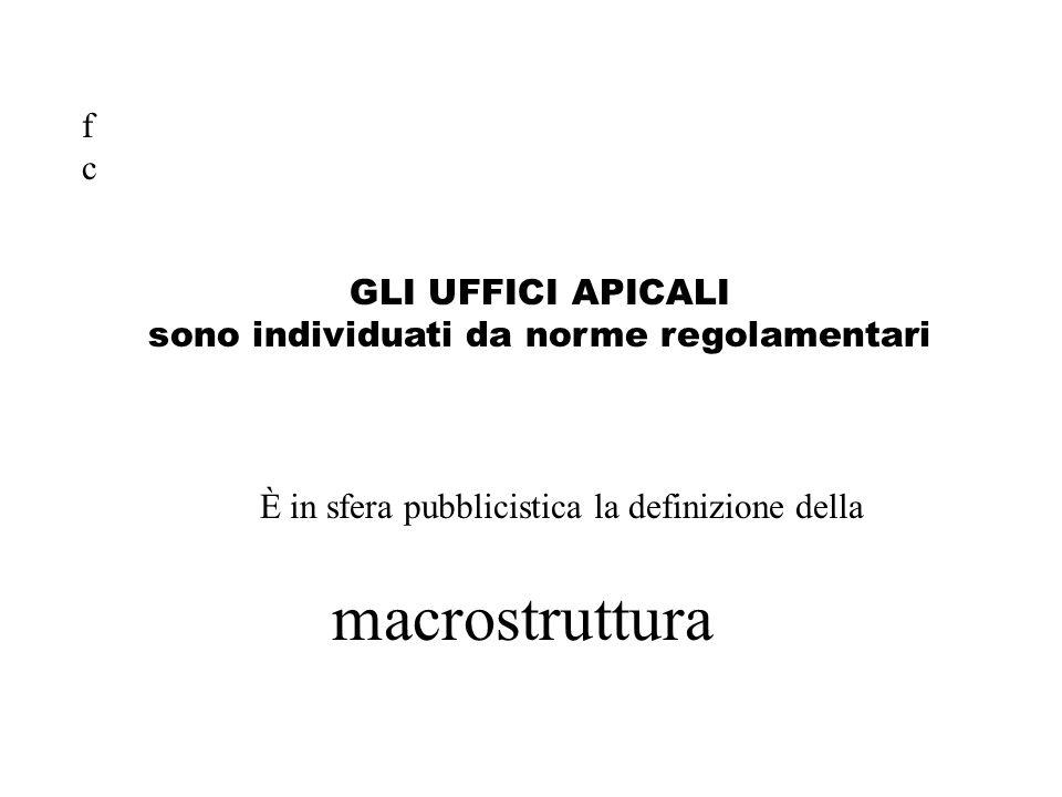 GLI UFFICI APICALI sono individuati da norme regolamentari È in sfera pubblicistica la definizione della macrostruttura fcfc