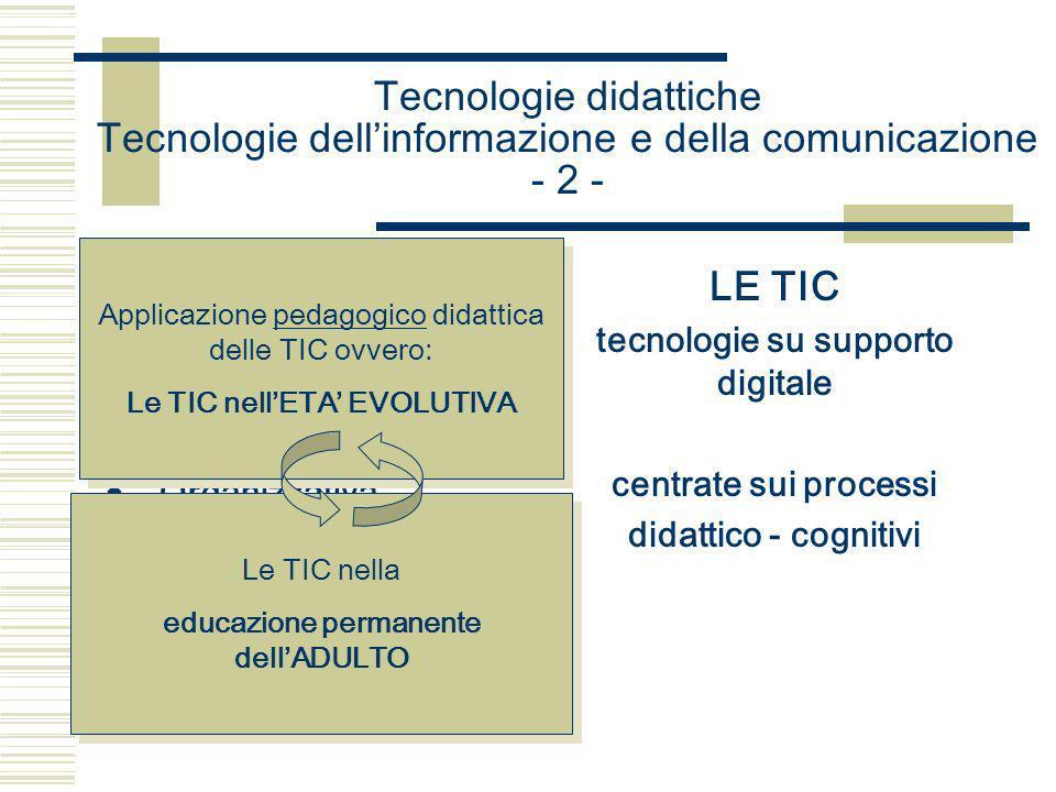 Tecnologie didattiche Tecnologie dellinformazione e della comunicazione - 3 - USO DELLE TIC Tecnologie su supporto digitale NELLA DIDATTICA Applicazione pedagogico educativa recuperando le TD (tecnologie didattiche) con le loro procedure metodologiche, progettuali, organizzative
