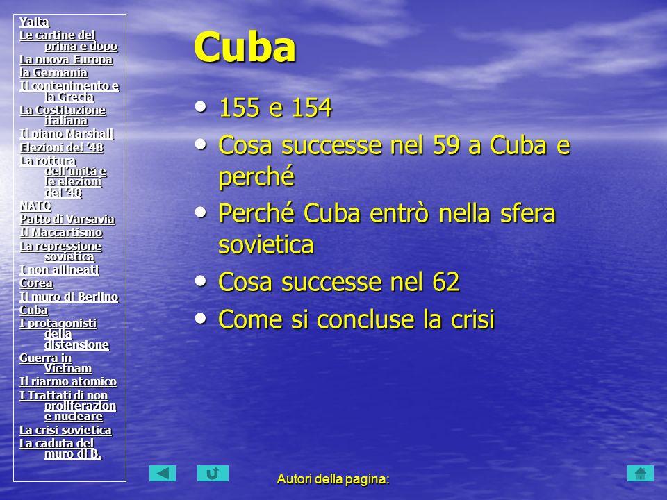 Autori della pagina: 155 e 154 155 e 154 Cosa successe nel 59 a Cuba e perché Cosa successe nel 59 a Cuba e perché Perché Cuba entrò nella sfera sovie