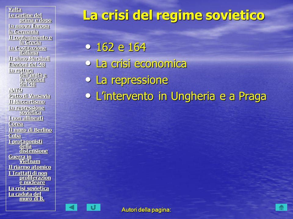 Autori della pagina: 162 e 164 162 e 164 La crisi economica La crisi economica La repressione La repressione Lintervento in Ungheria e a Praga Linterv