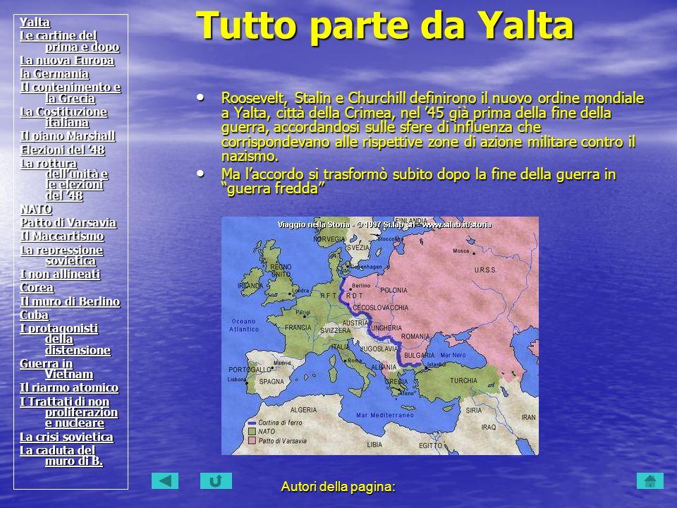 Autori della pagina: Roosevelt, Stalin e Churchill definirono il nuovo ordine mondiale a Yalta, città della Crimea, nel 45 già prima della fine della