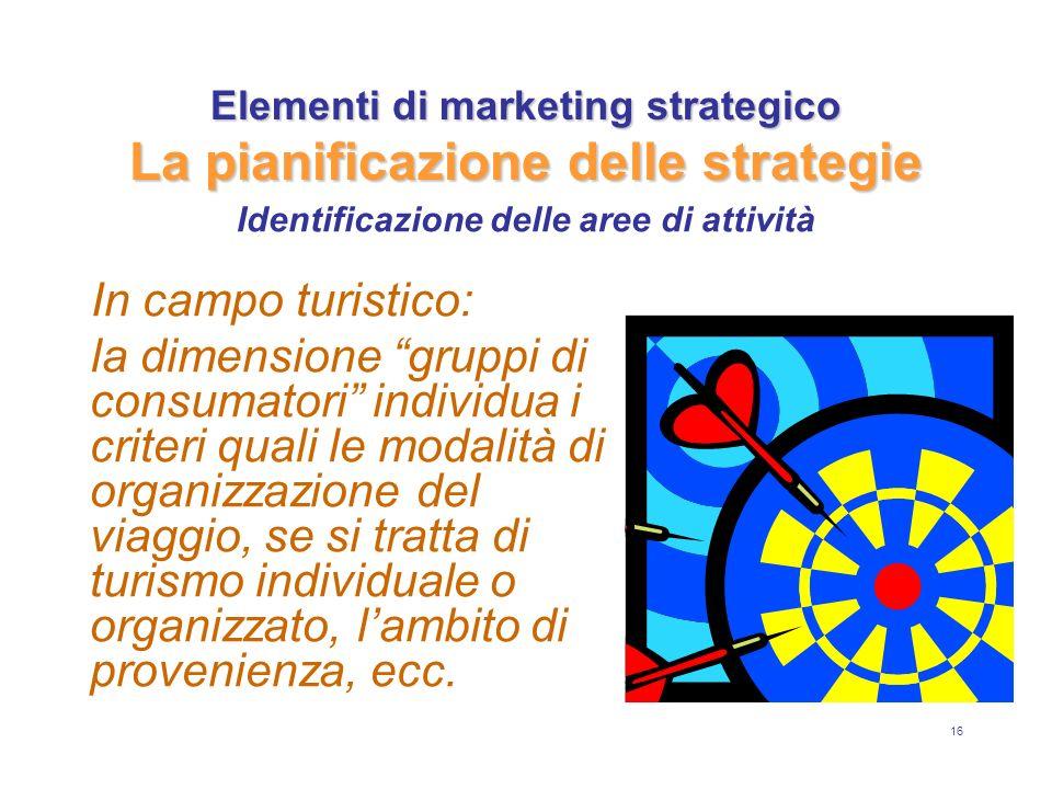 16 Elementi di marketing strategico La pianificazione delle strategie In campo turistico: la dimensione gruppi di consumatori individua i criteri quali le modalità di organizzazione del viaggio, se si tratta di turismo individuale o organizzato, lambito di provenienza, ecc.