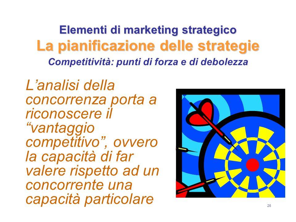 26 Elementi di marketing strategico La pianificazione delle strategie Lanalisi della concorrenza porta a riconoscere il vantaggio competitivo, ovvero la capacità di far valere rispetto ad un concorrente una capacità particolare Competitività: punti di forza e di debolezza