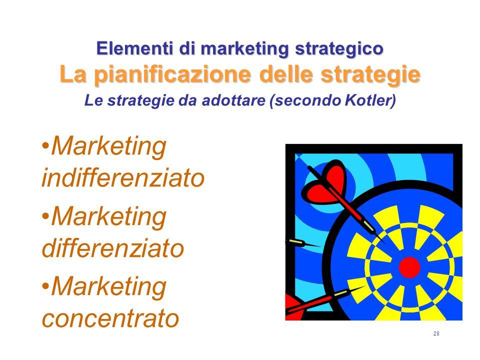 28 Elementi di marketing strategico La pianificazione delle strategie Marketing indifferenziato Marketing differenziato Marketing concentrato Le strat