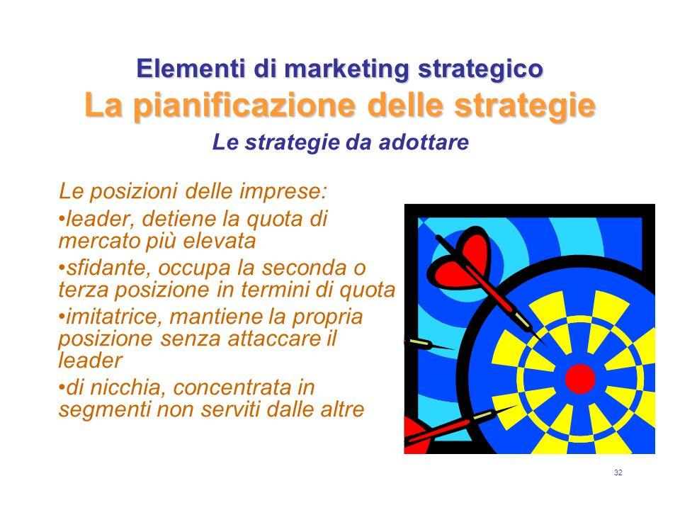 32 Elementi di marketing strategico La pianificazione delle strategie Le posizioni delle imprese: leader, detiene la quota di mercato più elevata sfidante, occupa la seconda o terza posizione in termini di quota imitatrice, mantiene la propria posizione senza attaccare il leader di nicchia, concentrata in segmenti non serviti dalle altre Le strategie da adottare