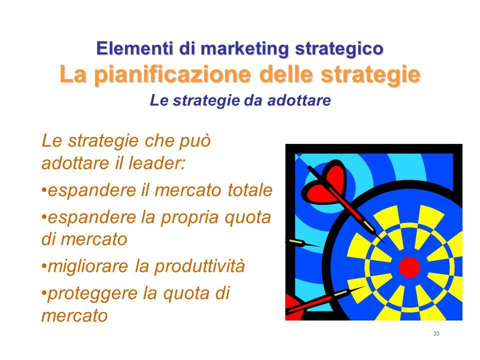 33 Elementi di marketing strategico La pianificazione delle strategie Le strategie che può adottare il leader: espandere il mercato totale espandere la propria quota di mercato migliorare la produttività proteggere la quota di mercato Le strategie da adottare