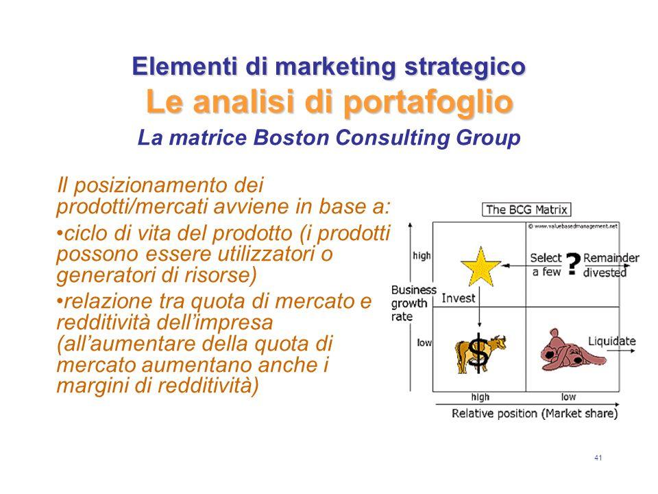 41 Elementi di marketing strategico Le analisi di portafoglio Il posizionamento dei prodotti/mercati avviene in base a: ciclo di vita del prodotto (i