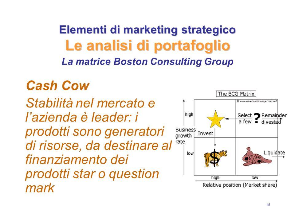 45 Elementi di marketing strategico Le analisi di portafoglio Cash Cow Stabilità nel mercato e lazienda è leader: i prodotti sono generatori di risorse, da destinare al finanziamento dei prodotti star o question mark La matrice Boston Consulting Group