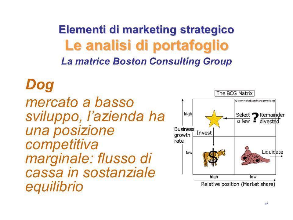 46 Elementi di marketing strategico Le analisi di portafoglio Dog mercato a basso sviluppo, lazienda ha una posizione competitiva marginale: flusso di