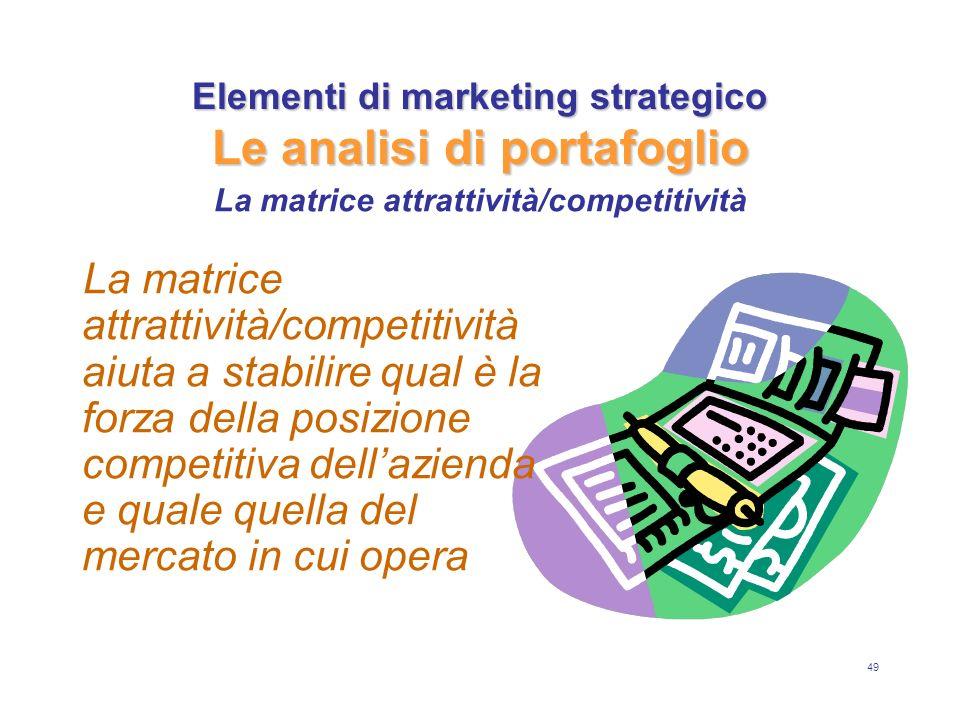 49 Elementi di marketing strategico Le analisi di portafoglio La matrice attrattività/competitività aiuta a stabilire qual è la forza della posizione competitiva dellazienda e quale quella del mercato in cui opera La matrice attrattività/competitività
