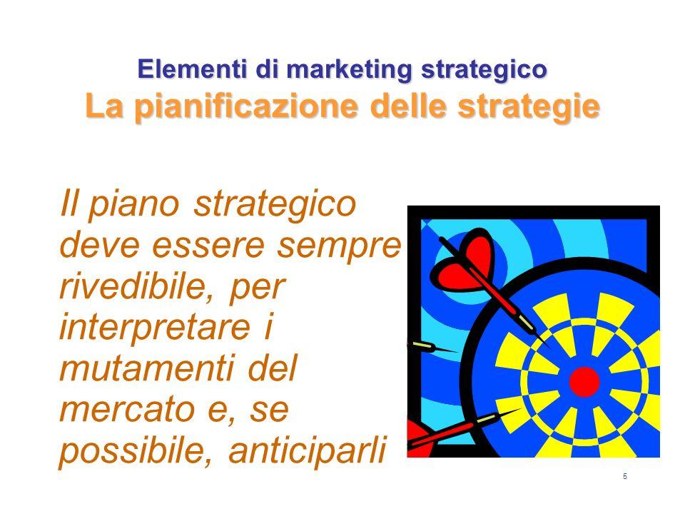 6 Gli argomenti chiave del marketing strategico: il mercato di riferimento e la mission dellimpresa le aree di attività dellimpresa le attrattive e le opportunità delle varie aree la competitività, i punti di forza e debolezza dellimpresa, ed il suo vantaggio competitivo