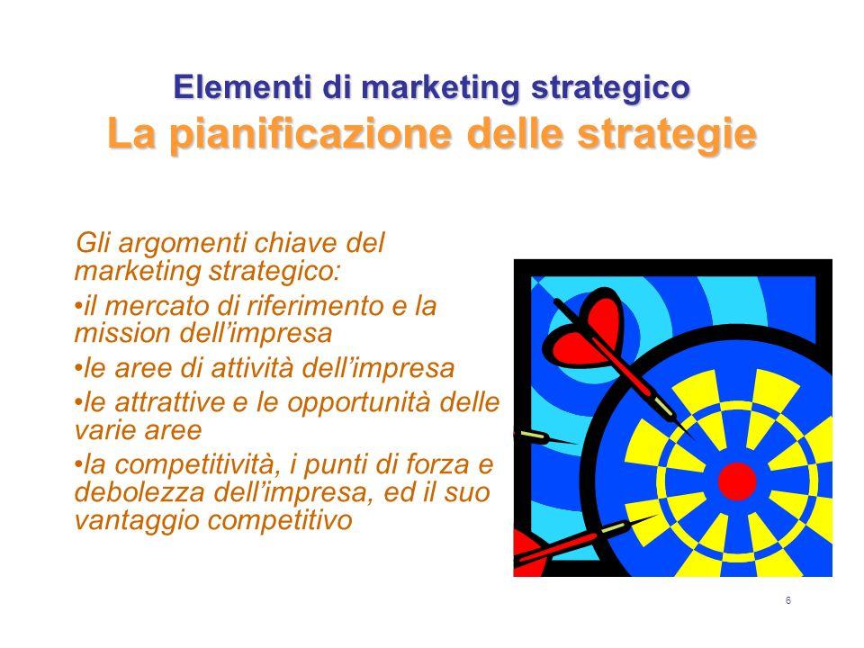 6 Gli argomenti chiave del marketing strategico: il mercato di riferimento e la mission dellimpresa le aree di attività dellimpresa le attrattive e le