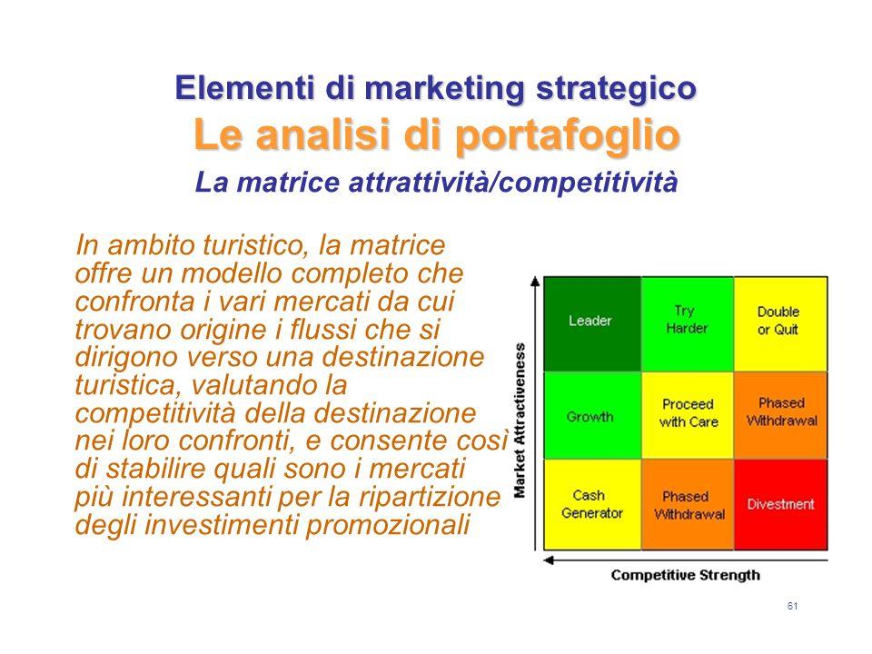 61 Elementi di marketing strategico Le analisi di portafoglio In ambito turistico, la matrice offre un modello completo che confronta i vari mercati da cui trovano origine i flussi che si dirigono verso una destinazione turistica, valutando la competitività della destinazione nei loro confronti, e consente così di stabilire quali sono i mercati più interessanti per la ripartizione degli investimenti promozionali La matrice attrattività/competitività