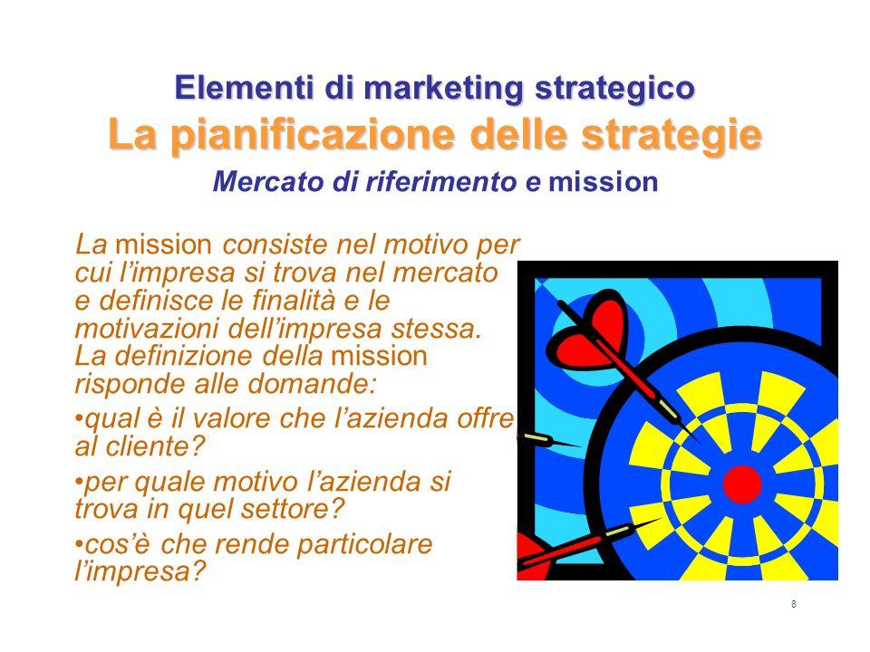 8 Elementi di marketing strategico La pianificazione delle strategie La mission consiste nel motivo per cui limpresa si trova nel mercato e definisce le finalità e le motivazioni dellimpresa stessa.