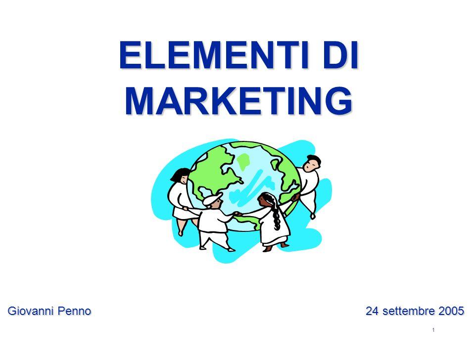 1 Giovanni Penno 24 settembre 2005 ELEMENTI DI MARKETING