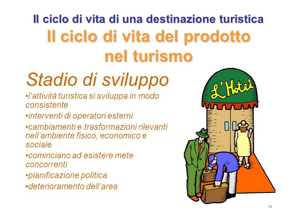 16 Il ciclo di vita di una destinazione turistica Il ciclo di vita del prodotto nel turismo Stadio di sviluppo lattività turistica si sviluppa in modo