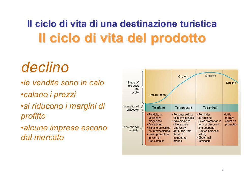 7 Il ciclo di vita di una destinazione turistica Il ciclo di vita del prodotto declino le vendite sono in calo calano i prezzi si riducono i margini d