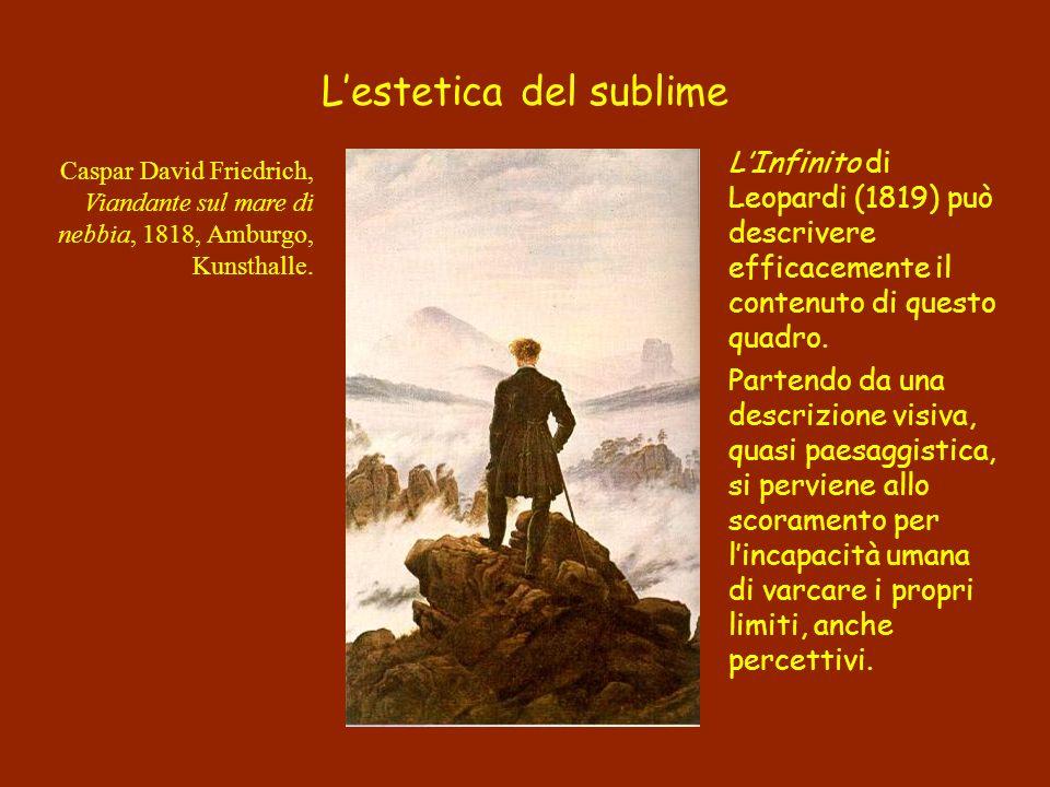 LInfinito di Leopardi (1819) può descrivere efficacemente il contenuto di questo quadro. Partendo da una descrizione visiva, quasi paesaggistica, si p