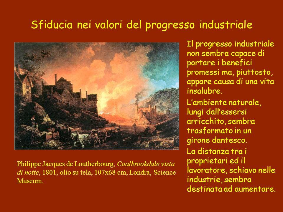 Sfiducia nei valori del progresso industriale Il progresso industriale non sembra capace di portare i benefici promessi ma, piuttosto, appare causa di