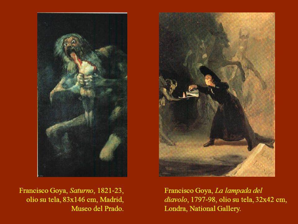 Francisco Goya, Saturno, 1821-23, olio su tela, 83x146 cm, Madrid, Museo del Prado. Francisco Goya, La lampada del diavolo, 1797-98, olio su tela, 32x