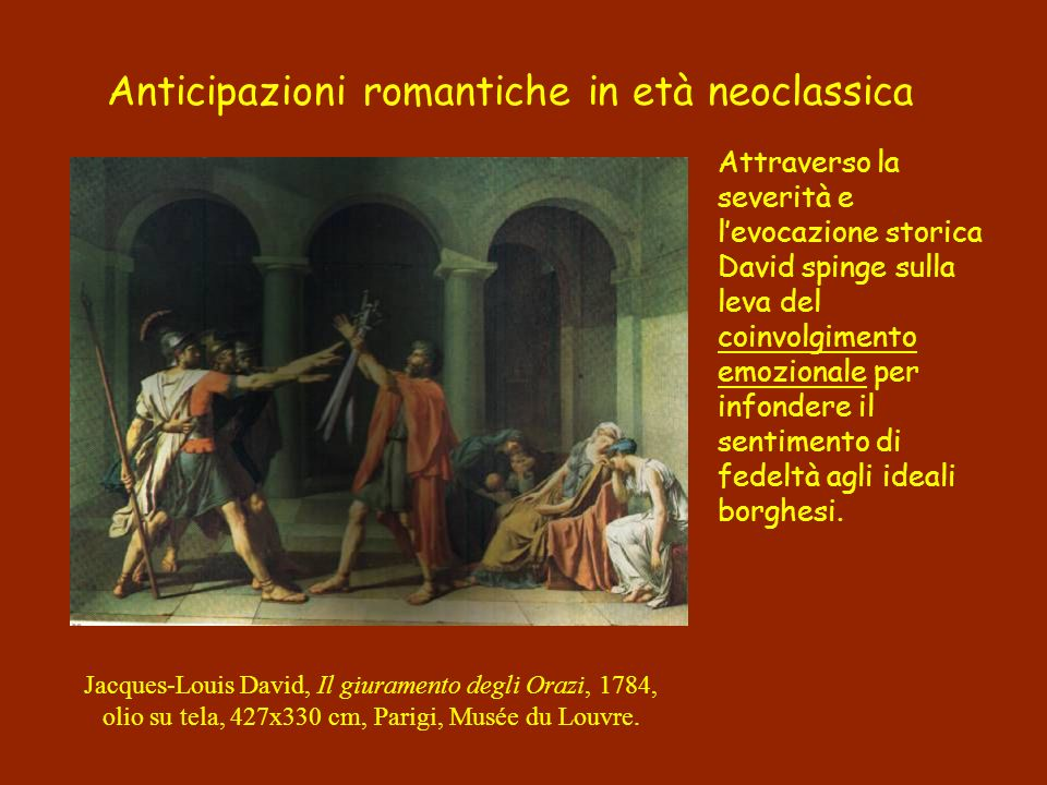 Attraverso la severità e levocazione storica David spinge sulla leva del coinvolgimento emozionale per infondere il sentimento di fedeltà agli ideali