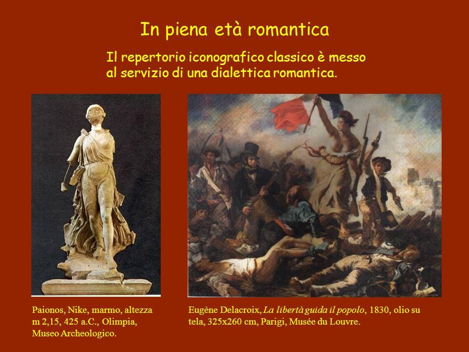 Il repertorio iconografico classico è messo al servizio di una dialettica romantica. In piena età romantica Eugène Delacroix, La libertà guida il popo