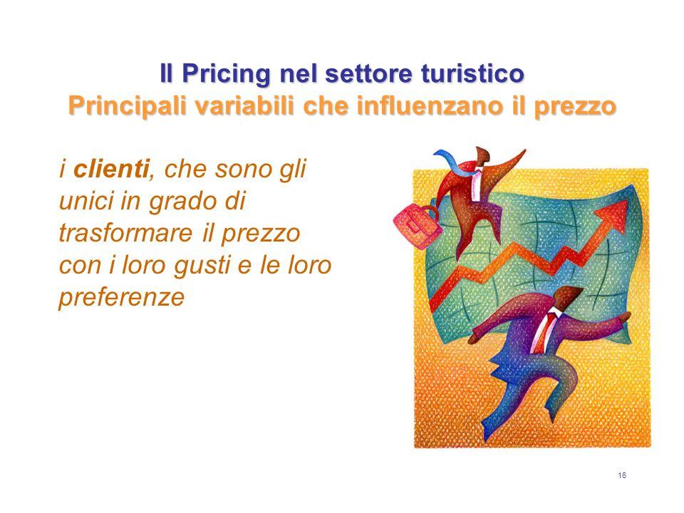 16 Il Pricing nel settore turistico Principali variabili che influenzano il prezzo i clienti, che sono gli unici in grado di trasformare il prezzo con