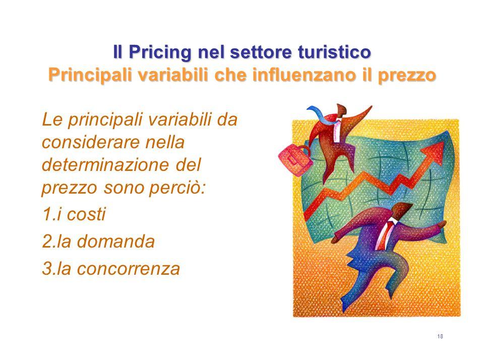 18 Il Pricing nel settore turistico Principali variabili che influenzano il prezzo Le principali variabili da considerare nella determinazione del pre