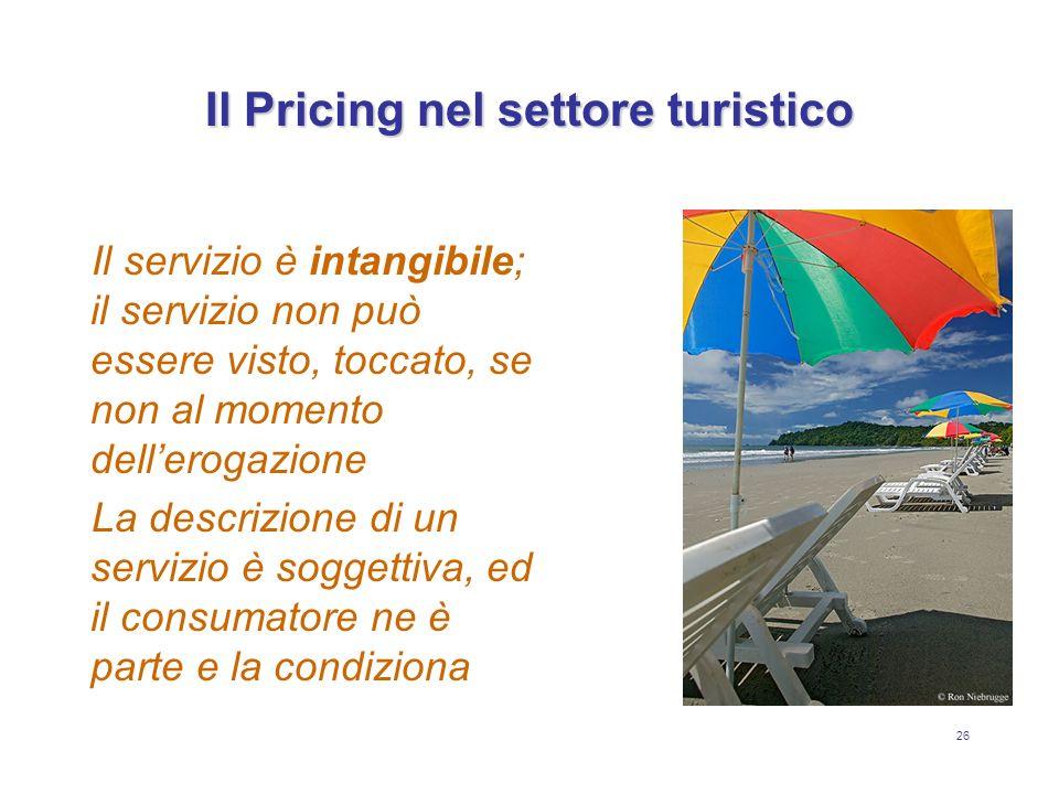 26 Il Pricing nel settore turistico Il servizio è intangibile; il servizio non può essere visto, toccato, se non al momento dellerogazione La descrizi