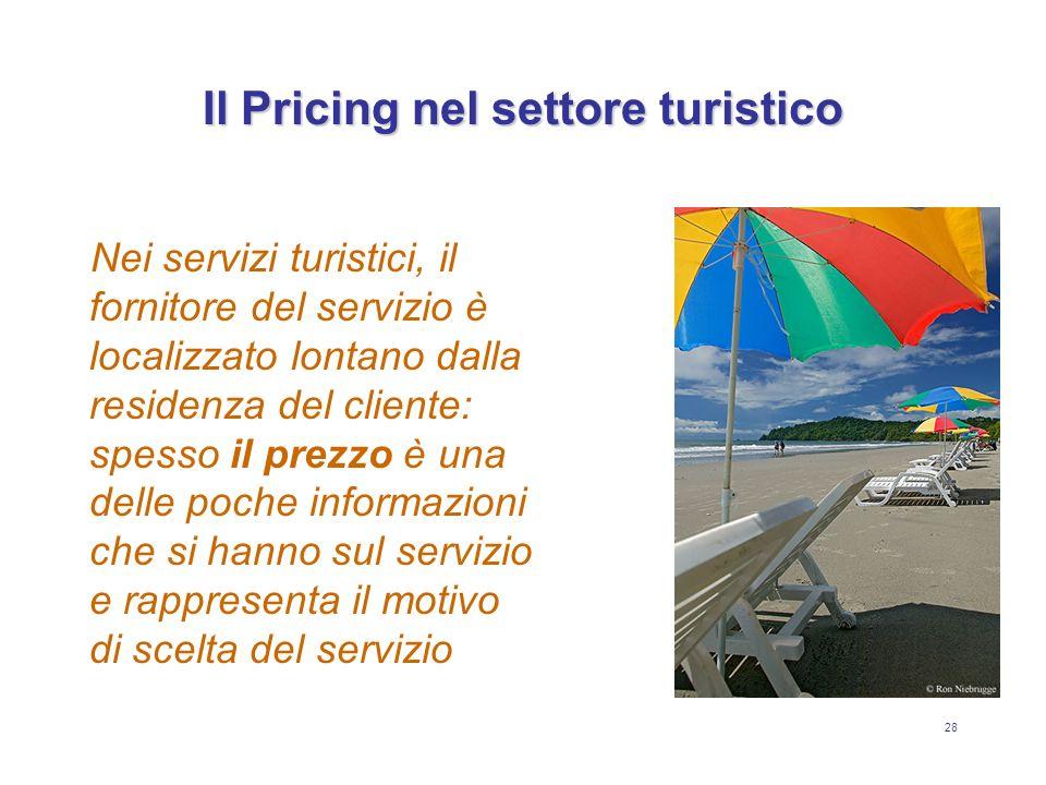 28 Il Pricing nel settore turistico Nei servizi turistici, il fornitore del servizio è localizzato lontano dalla residenza del cliente: spesso il prez