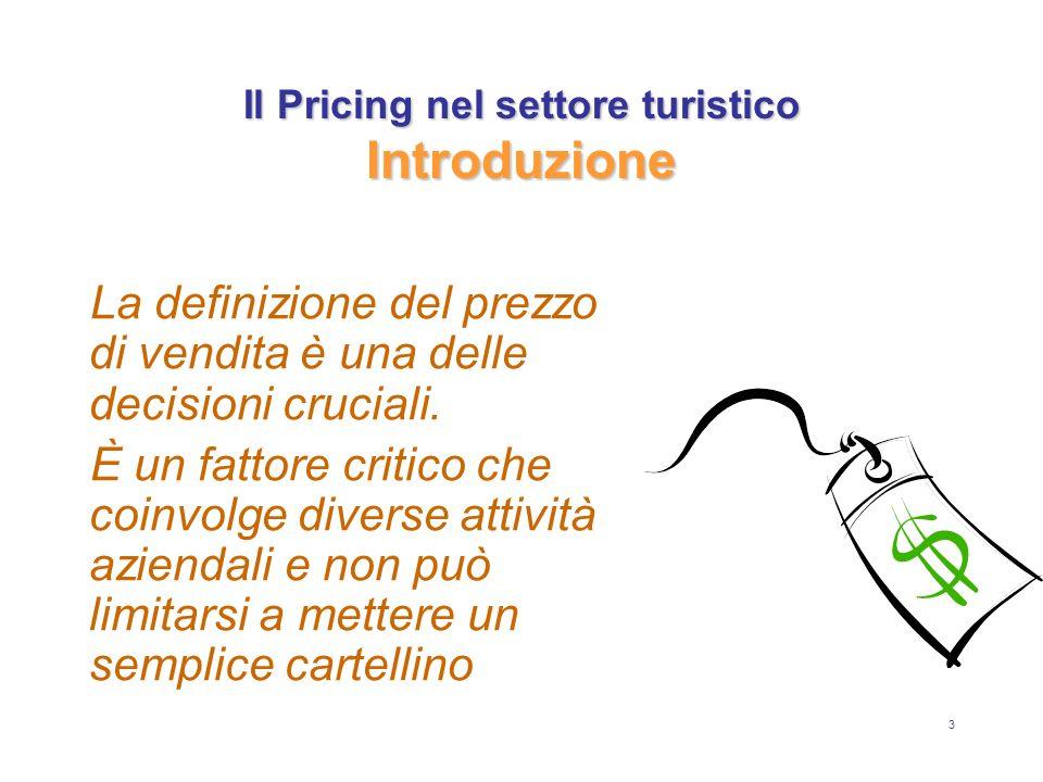 3 Il Pricing nel settore turistico Introduzione La definizione del prezzo di vendita è una delle decisioni cruciali. È un fattore critico che coinvolg