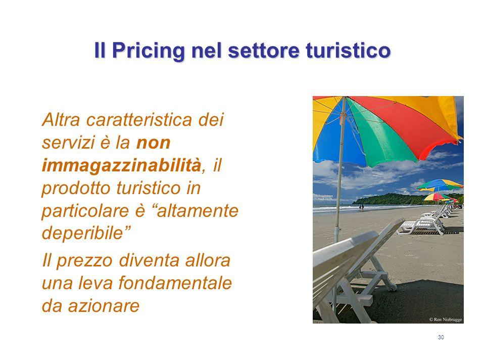 30 Il Pricing nel settore turistico Altra caratteristica dei servizi è la non immagazzinabilità, il prodotto turistico in particolare è altamente depe