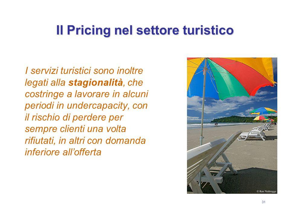 31 Il Pricing nel settore turistico I servizi turistici sono inoltre legati alla stagionalità, che costringe a lavorare in alcuni periodi in undercapa
