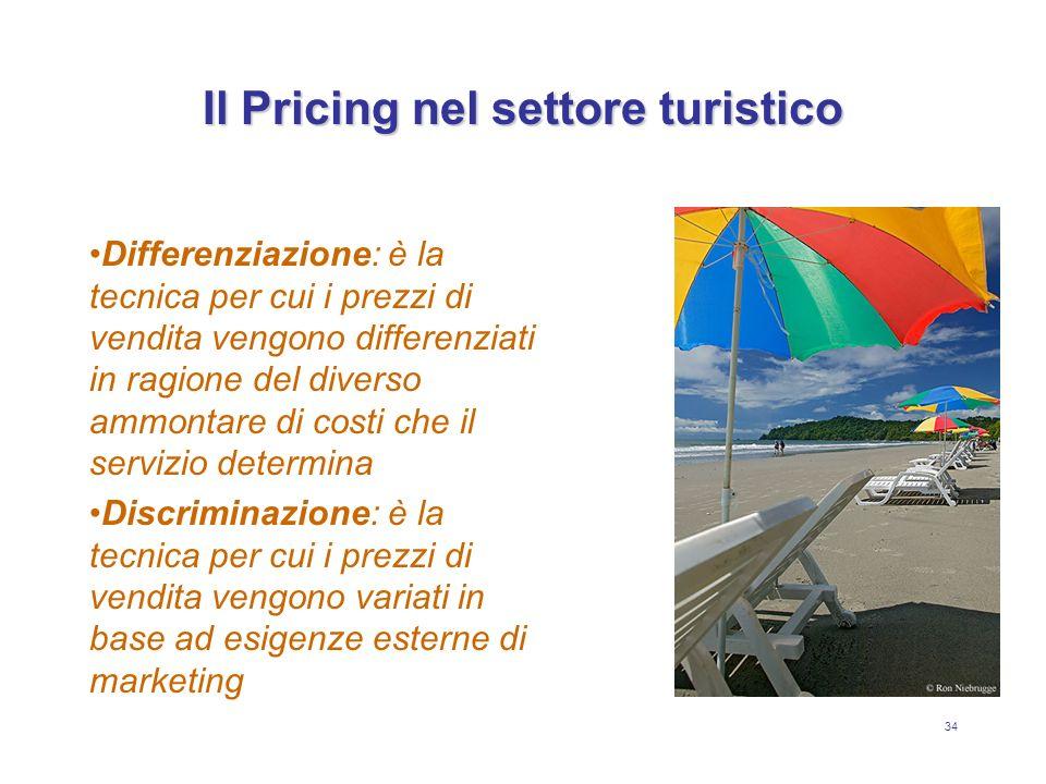 34 Il Pricing nel settore turistico Differenziazione: è la tecnica per cui i prezzi di vendita vengono differenziati in ragione del diverso ammontare