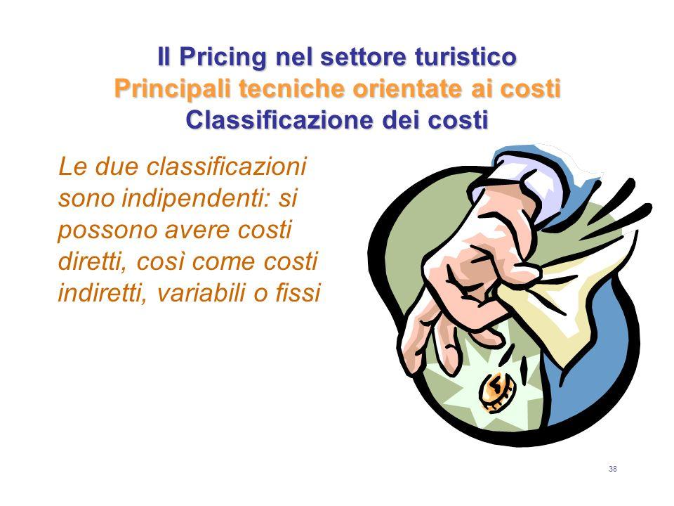 38 Il Pricing nel settore turistico Principali tecniche orientate ai costi Classificazione dei costi Le due classificazioni sono indipendenti: si poss