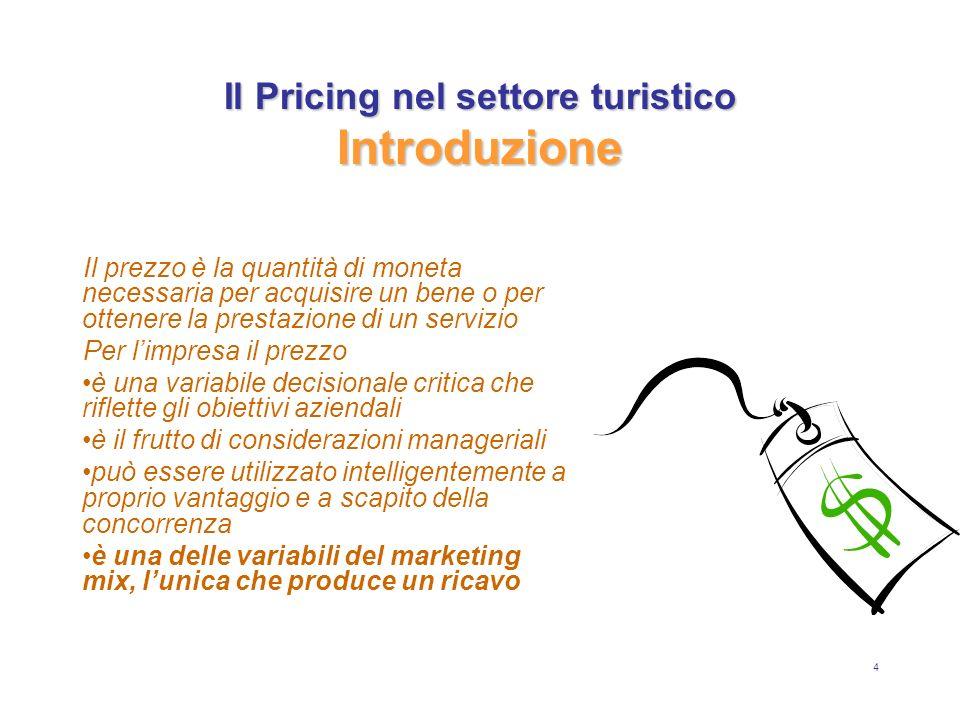 5 Il Pricing nel settore turistico Il prezzo nel ciclo di vita del prodotto Il prezzo è un elemento quantificabile, su cui lazienda può intervenire direttamente, anche a breve termine.
