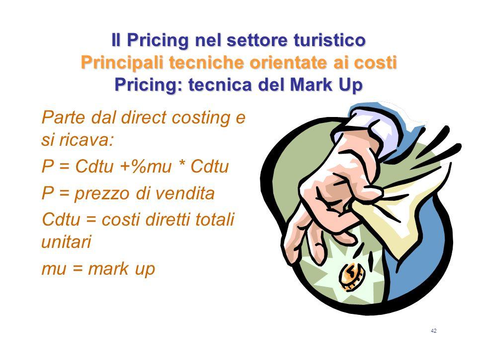 42 Il Pricing nel settore turistico Principali tecniche orientate ai costi Pricing: tecnica del Mark Up Parte dal direct costing e si ricava: P = Cdtu