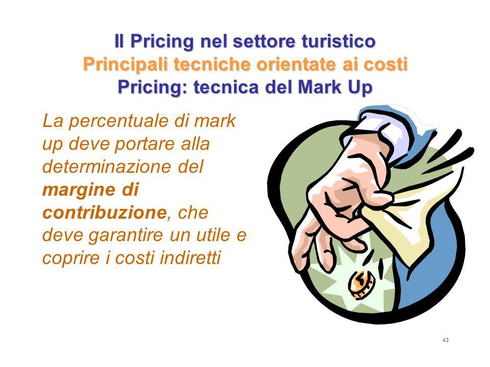 43 Il Pricing nel settore turistico Principali tecniche orientate ai costi Pricing: tecnica del Mark Up La percentuale di mark up deve portare alla de