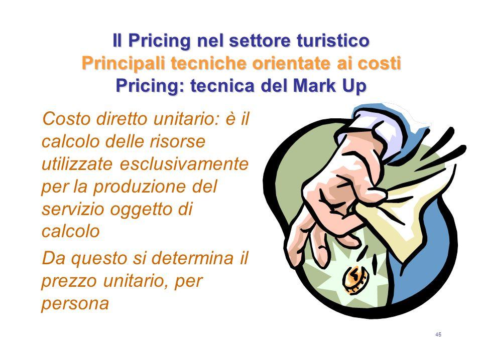45 Il Pricing nel settore turistico Principali tecniche orientate ai costi Pricing: tecnica del Mark Up Costo diretto unitario: è il calcolo delle ris