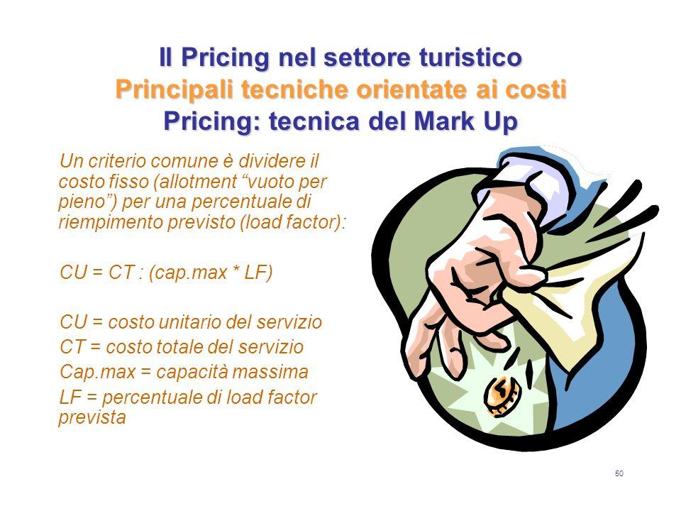 50 Il Pricing nel settore turistico Principali tecniche orientate ai costi Pricing: tecnica del Mark Up Un criterio comune è dividere il costo fisso (