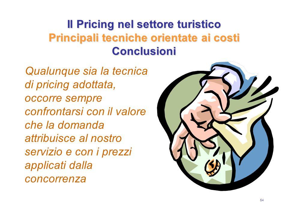 54 Il Pricing nel settore turistico Principali tecniche orientate ai costi Conclusioni Qualunque sia la tecnica di pricing adottata, occorre sempre co