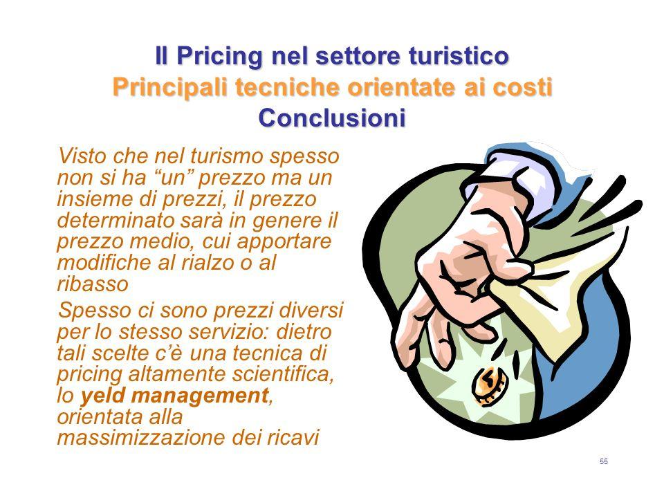 55 Il Pricing nel settore turistico Principali tecniche orientate ai costi Conclusioni Visto che nel turismo spesso non si ha un prezzo ma un insieme
