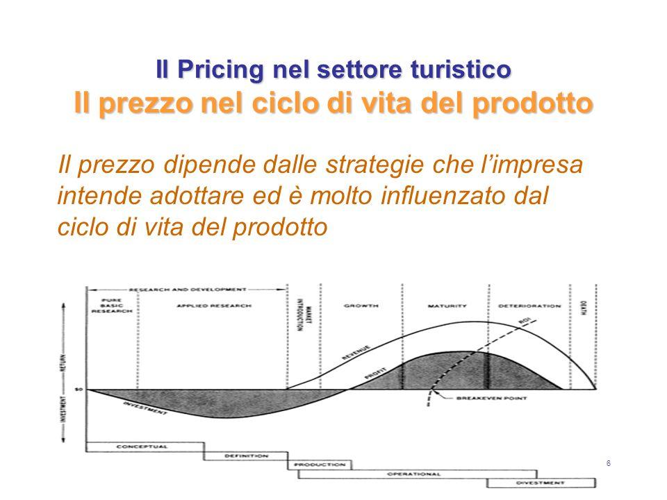7 Il Pricing nel settore turistico Il prezzo nel ciclo di vita del prodotto In fase di introduzione si tende ad applicare prezzi elevati, essendo bassi la concorrenza nel mercato e i volumi di vendita, ma alti i costi di produzione