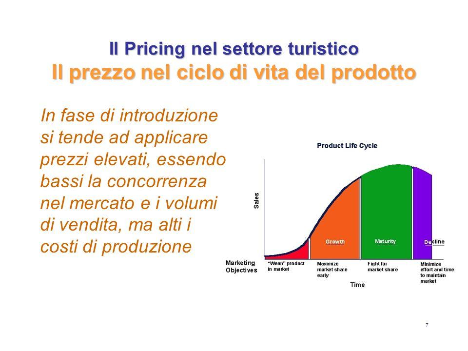 7 Il Pricing nel settore turistico Il prezzo nel ciclo di vita del prodotto In fase di introduzione si tende ad applicare prezzi elevati, essendo bass